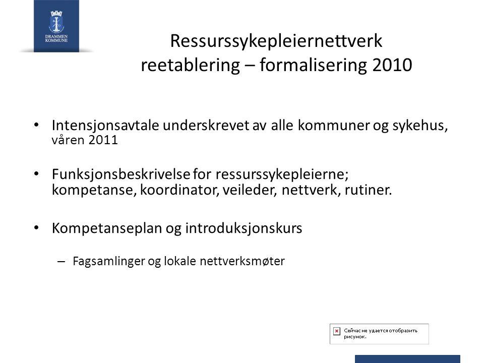 Ressurssykepleiernettverk reetablering – formalisering 2010 Intensjonsavtale underskrevet av alle kommuner og sykehus, våren 2011 Funksjonsbeskrivelse