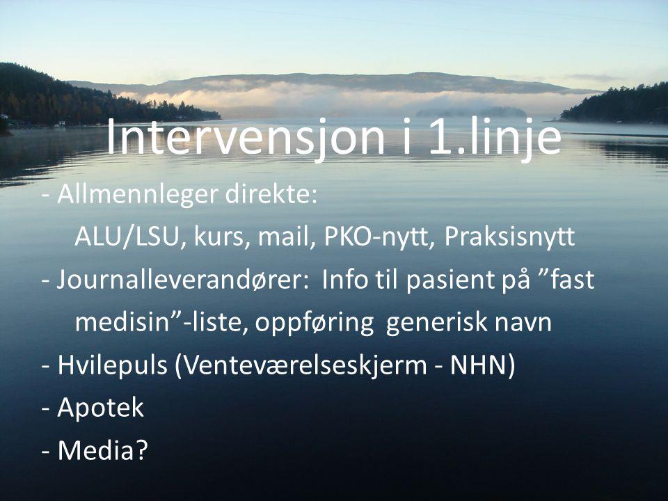 """Intervensjon i 1.linje - Allmennleger direkte: ALU/LSU, kurs, mail, PKO-nytt, Praksisnytt - Journalleverandører: Info til pasient på """"fast medisin""""-li"""