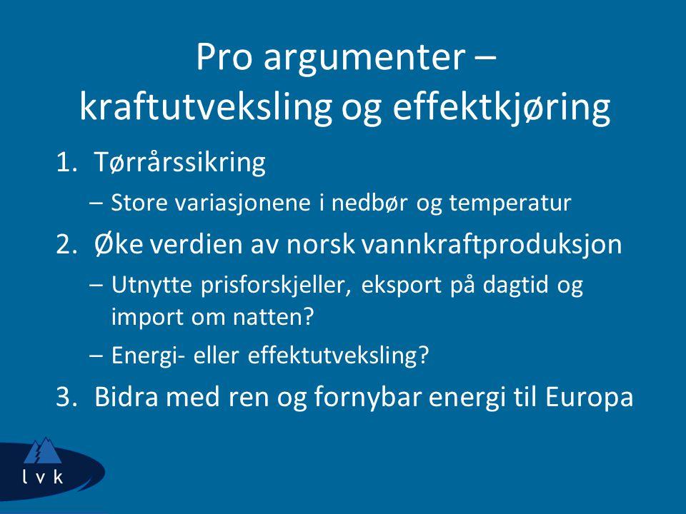 Pro argumenter – kraftutveksling og effektkjøring 1.Tørrårssikring –Store variasjonene i nedbør og temperatur 2.Øke verdien av norsk vannkraftproduksjon –Utnytte prisforskjeller, eksport på dagtid og import om natten.