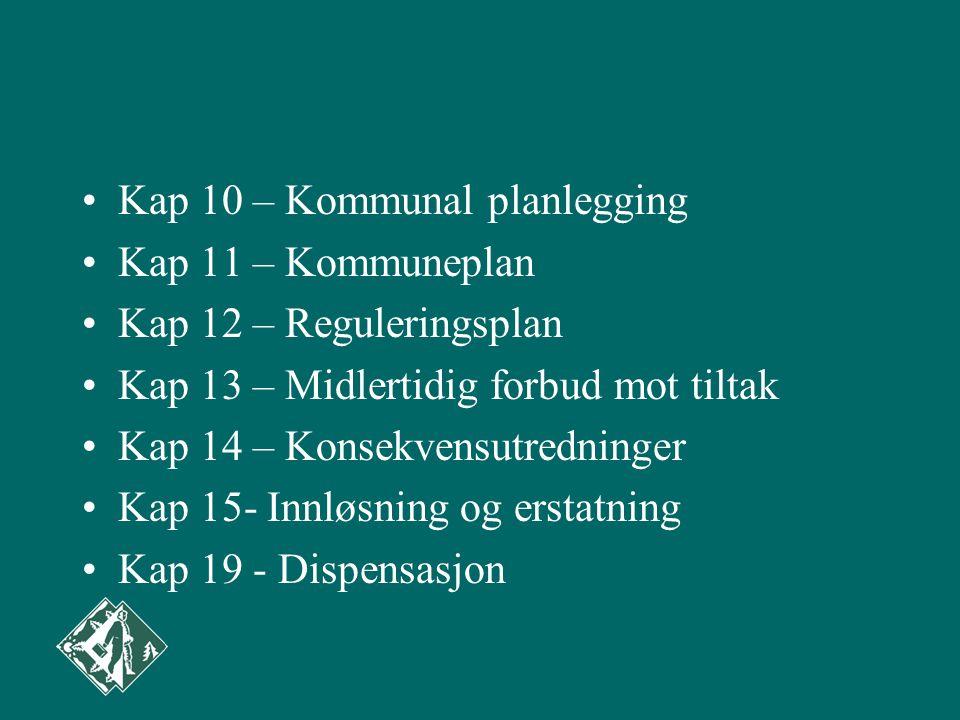 Kap 10 – Kommunal planlegging Kap 11 – Kommuneplan Kap 12 – Reguleringsplan Kap 13 – Midlertidig forbud mot tiltak Kap 14 – Konsekvensutredninger Kap 15- Innløsning og erstatning Kap 19 - Dispensasjon