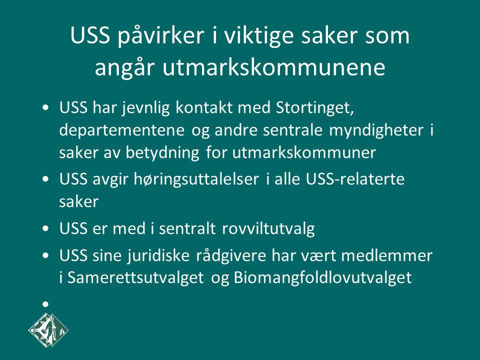 USS påvirker i viktige saker som angår utmarkskommunene USS har jevnlig kontakt med Stortinget, departementene og andre sentrale myndigheter i saker a