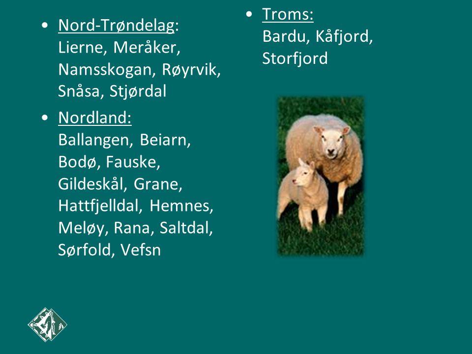 Nord-Trøndelag: Lierne, Meråker, Namsskogan, Røyrvik, Snåsa, Stjørdal Nordland: Ballangen, Beiarn, Bodø, Fauske, Gildeskål, Grane, Hattfjelldal, Hemne