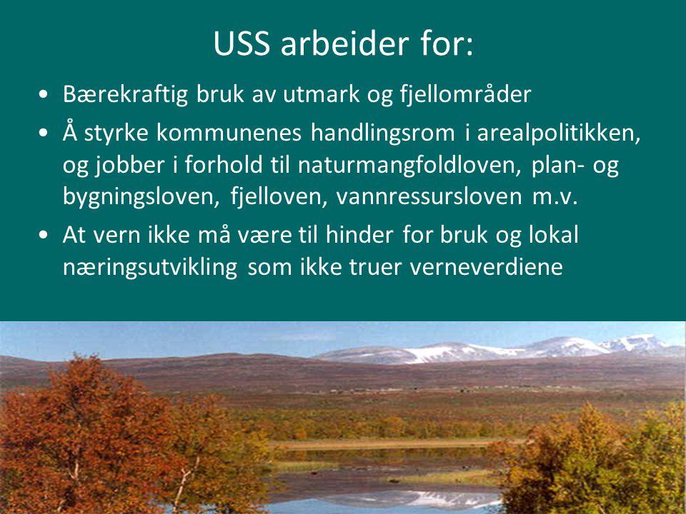USS arbeider for: Bærekraftig bruk av utmark og fjellområder Å styrke kommunenes handlingsrom i arealpolitikken, og jobber i forhold til naturmangfold