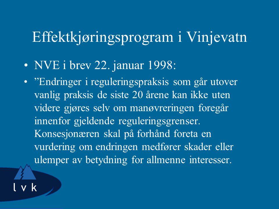 Effektkjøringsprogram i Vinjevatn NVE i brev 22.