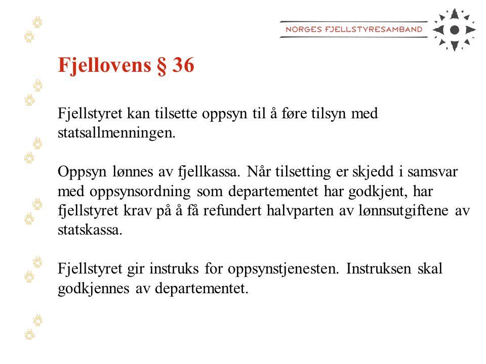 Fjellovens § 36 Fjellstyret kan tilsette oppsyn til å føre tilsyn med statsallmenningen.