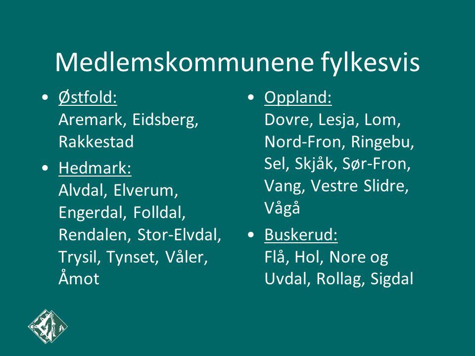 Medlemskommunene fylkesvis Østfold: Aremark, Eidsberg, Rakkestad Hedmark: Alvdal, Elverum, Engerdal, Folldal, Rendalen, Stor-Elvdal, Trysil, Tynset, Våler, Åmot Oppland: Dovre, Lesja, Lom, Nord-Fron, Ringebu, Sel, Skjåk, Sør-Fron, Vang, Vestre Slidre, Vågå Buskerud: Flå, Hol, Nore og Uvdal, Rollag, Sigdal