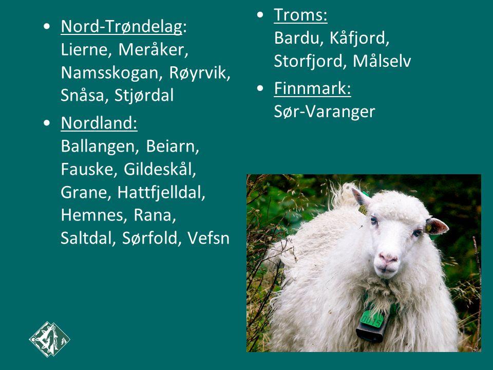Nord-Trøndelag: Lierne, Meråker, Namsskogan, Røyrvik, Snåsa, Stjørdal Nordland: Ballangen, Beiarn, Fauske, Gildeskål, Grane, Hattfjelldal, Hemnes, Rana, Saltdal, Sørfold, Vefsn Troms: Bardu, Kåfjord, Storfjord, Målselv Finnmark: Sør-Varanger