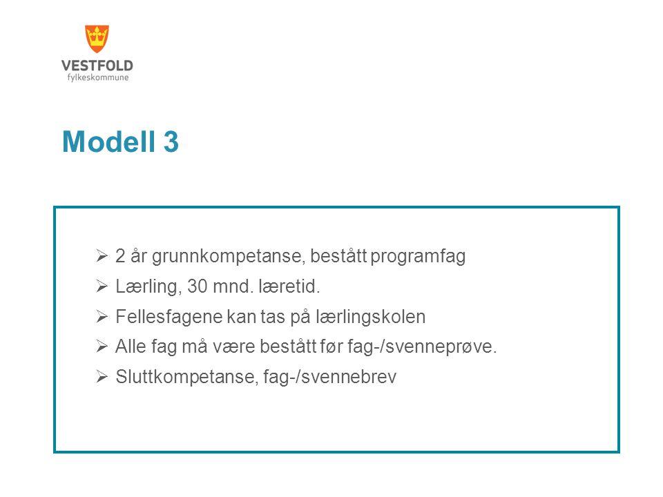 Modell 3  2 år grunnkompetanse, bestått programfag  Lærling, 30 mnd. læretid.  Fellesfagene kan tas på lærlingskolen  Alle fag må være bestått før