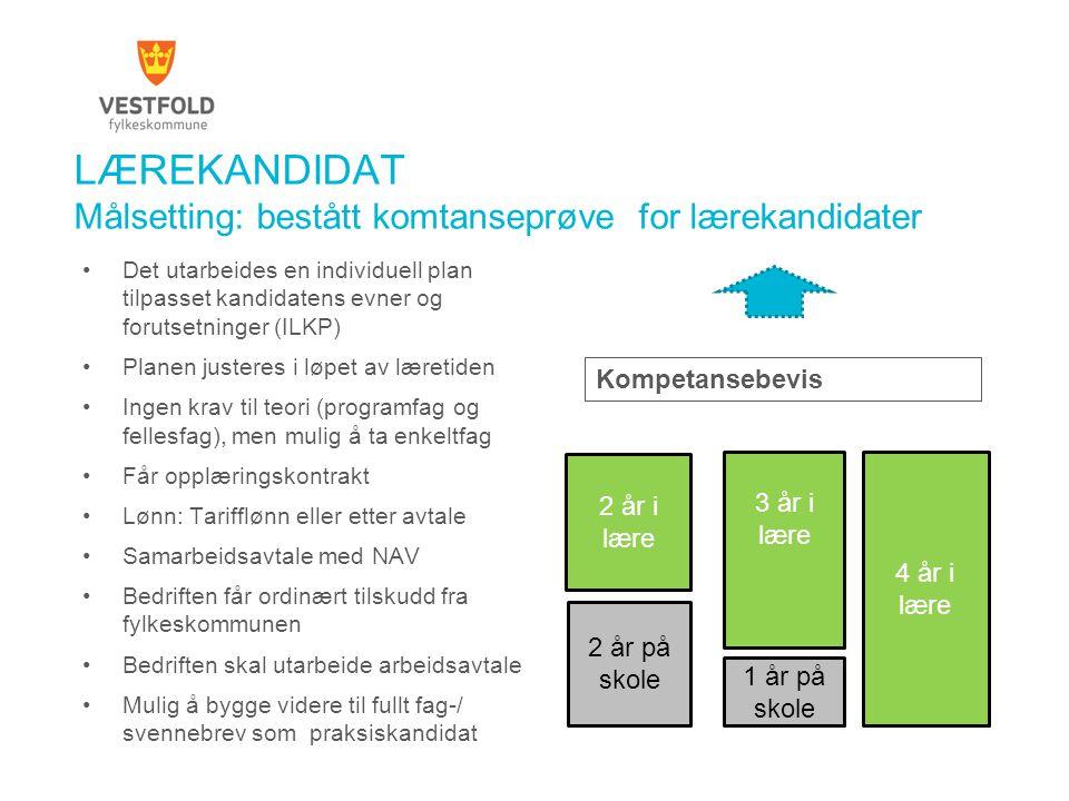 LÆREKANDIDAT Målsetting: bestått komtanseprøve for lærekandidater Det utarbeides en individuell plan tilpasset kandidatens evner og forutsetninger (IL