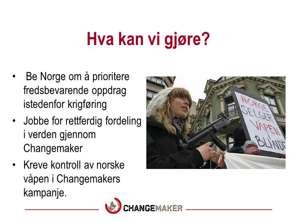 Hva kan vi gjøre? Be Norge om å prioritere fredsbevarende oppdrag istedenfor krigføring Jobbe for rettferdig fordeling i verden gjennom Changemaker Kr