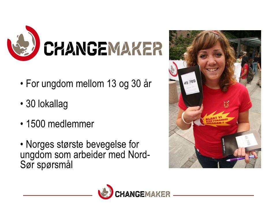 For ungdom mellom 13 og 30 år 30 lokallag 1500 medlemmer Norges største bevegelse for ungdom som arbeider med Nord- Sør spørsmål