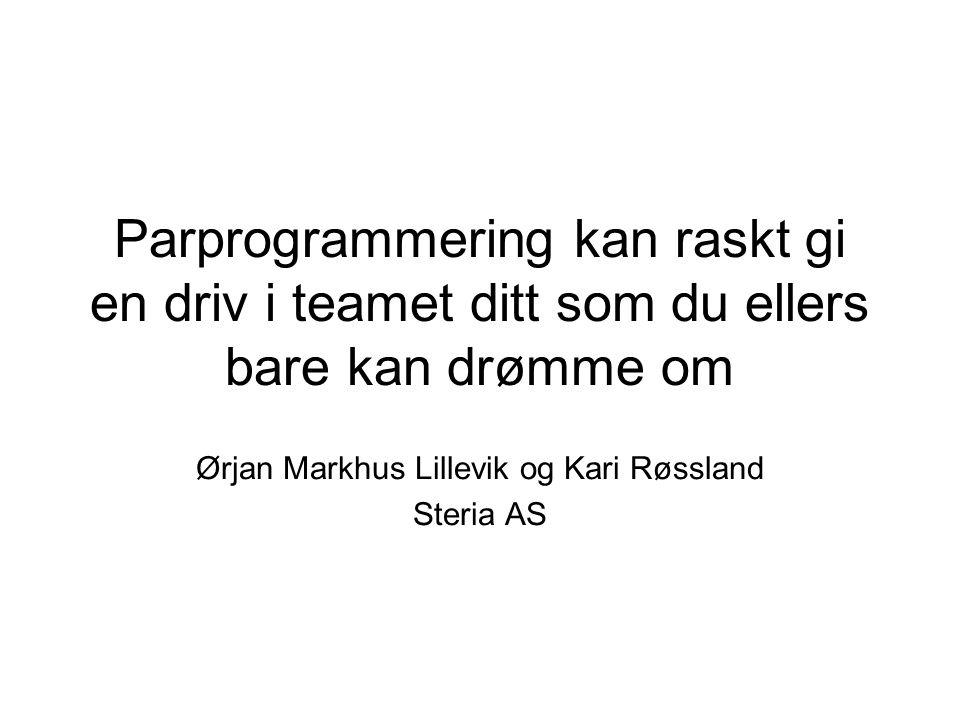 Parprogrammering kan raskt gi en driv i teamet ditt som du ellers bare kan drømme om Ørjan Markhus Lillevik og Kari Røssland Steria AS