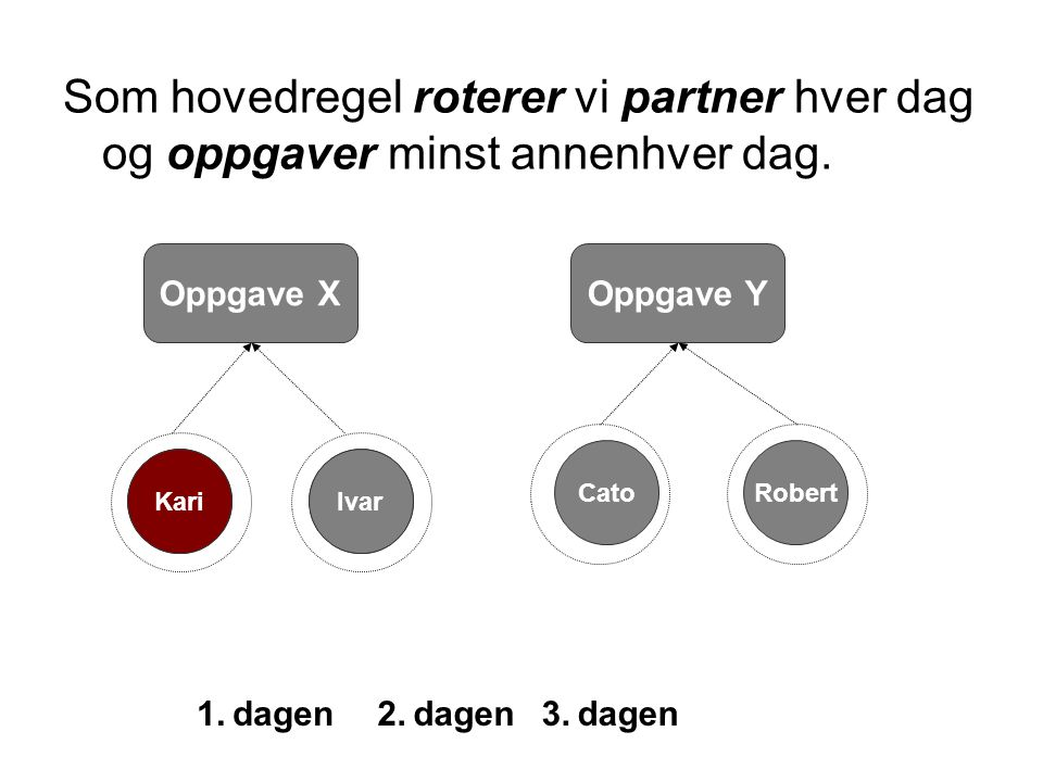 Andreas Som hovedregel roterer vi partner hver dag og oppgaver minst annenhver dag. Oppgave X IvarErlend Oppgave Y Kari 1. dagen2. dagen Robert 3. dag
