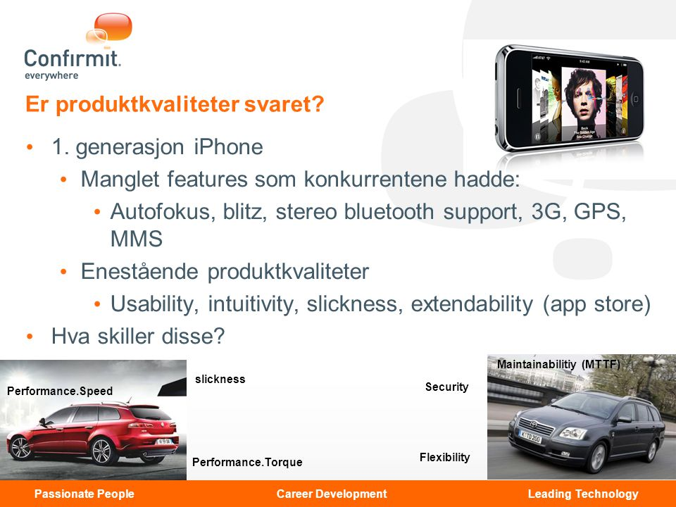 Unclassified© Copyright 2008 Confirmit. All rights reserved. Passionate People Career Development Leading Technology Er produktkvaliteter svaret? 1. g
