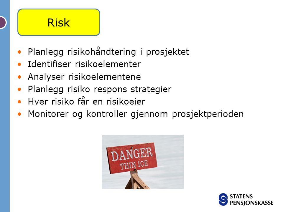 Planlegg risikohåndtering i prosjektet Identifiser risikoelementer Analyser risikoelementene Planlegg risiko respons strategier Hver risiko får en ris