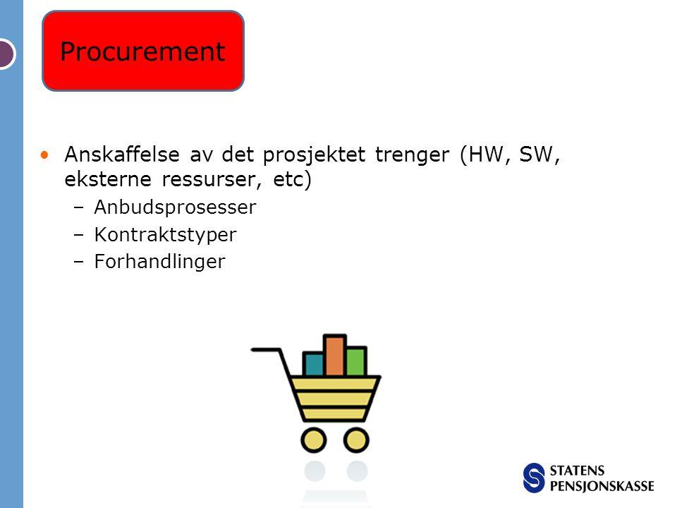 Anskaffelse av det prosjektet trenger (HW, SW, eksterne ressurser, etc) –Anbudsprosesser –Kontraktstyper –Forhandlinger Procurement