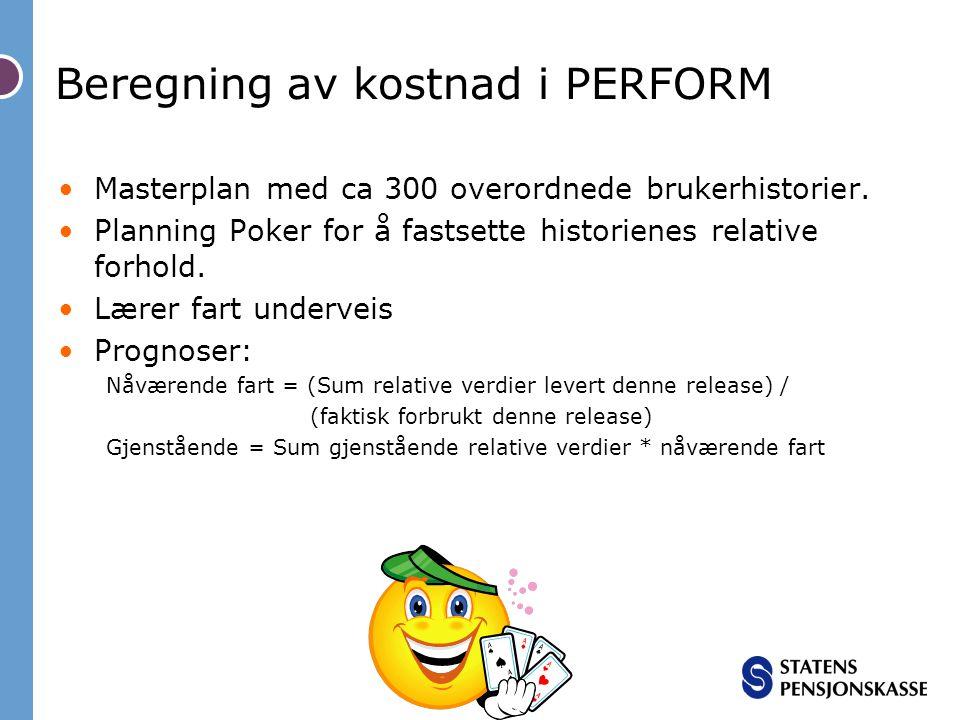 Masterplan med ca 300 overordnede brukerhistorier. Planning Poker for å fastsette historienes relative forhold. Lærer fart underveis Prognoser: Nåvære