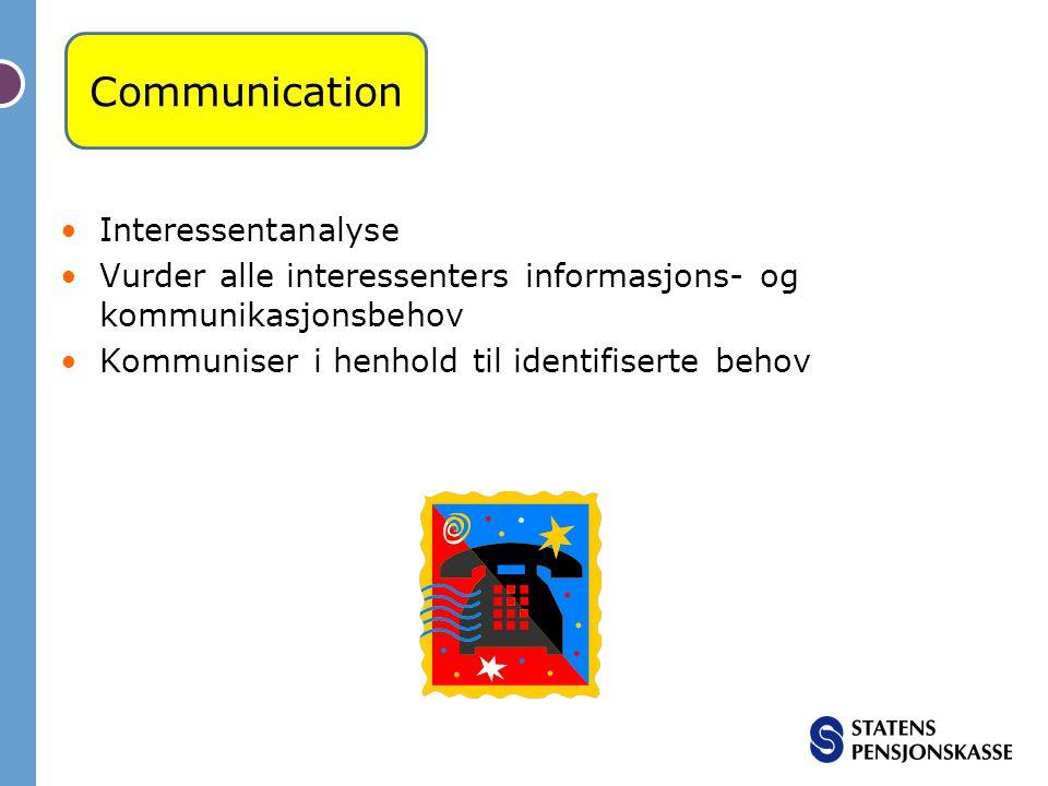 Interessentanalyse Vurder alle interessenters informasjons- og kommunikasjonsbehov Kommuniser i henhold til identifiserte behov Communication