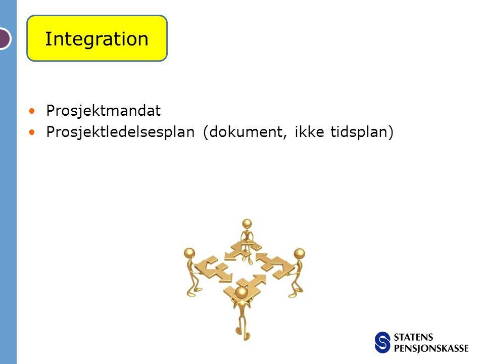 Prosjektmandat Prosjektledelsesplan (dokument, ikke tidsplan) Integration