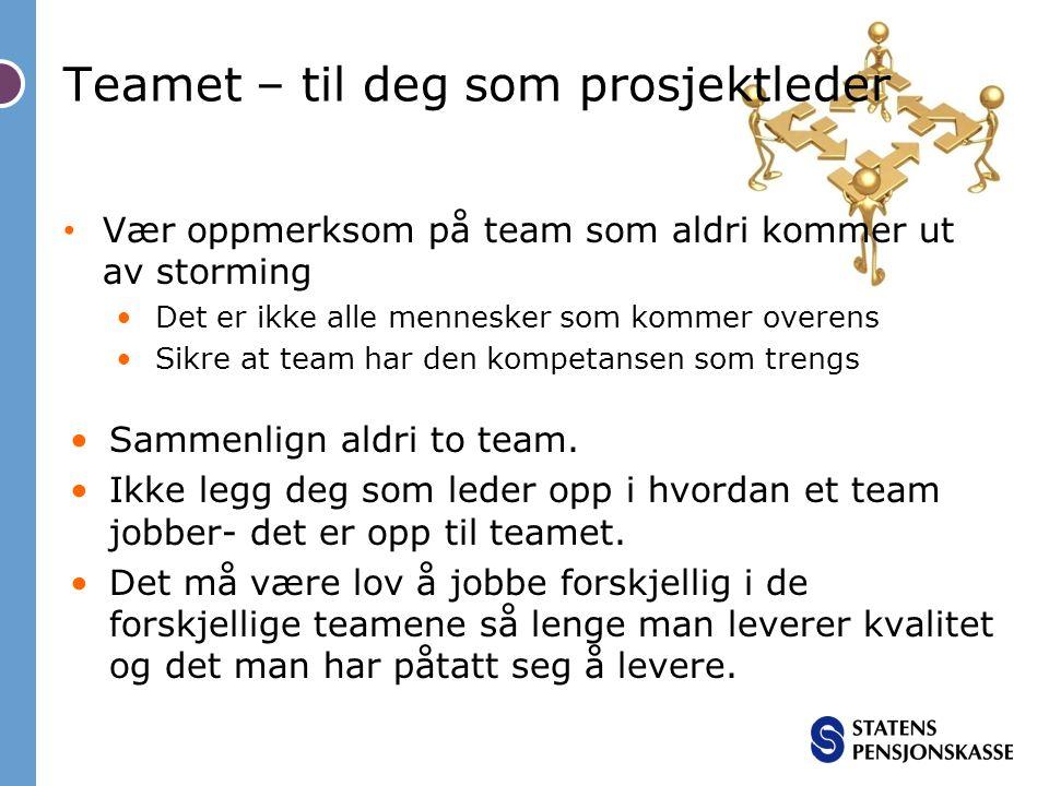 Teamet – til deg som prosjektleder Vær oppmerksom på team som aldri kommer ut av storming Det er ikke alle mennesker som kommer overens Sikre at team