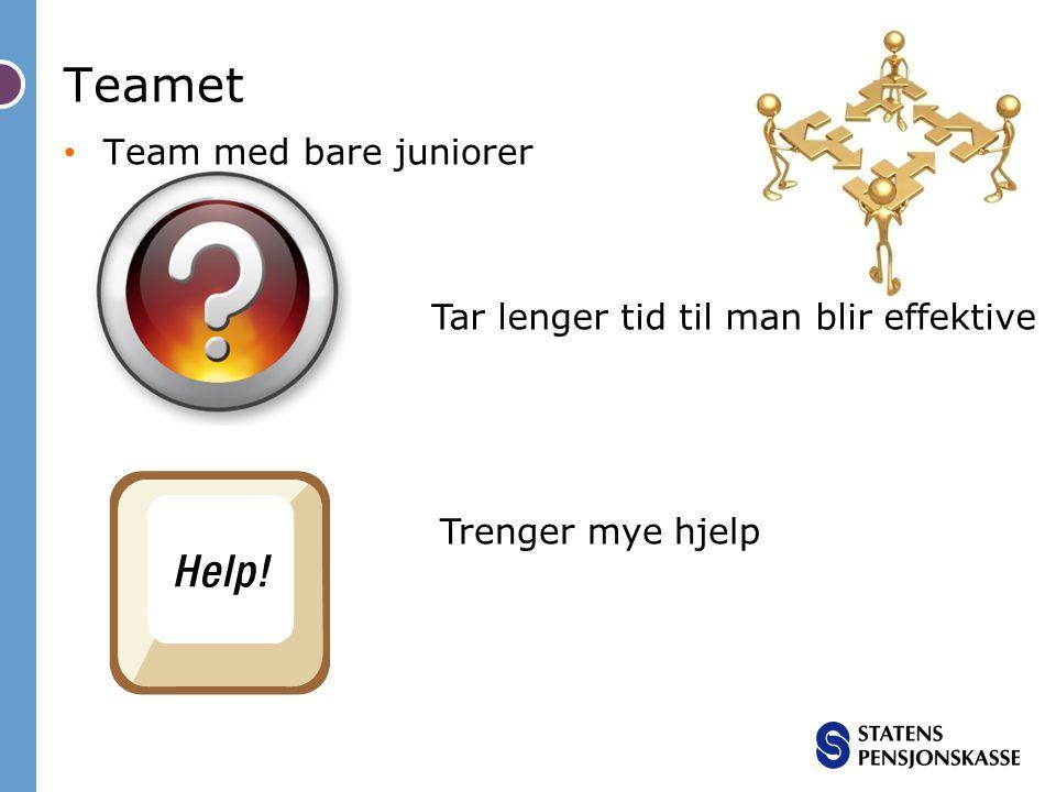 Teamet Team med bare juniorer Tar lenger tid til man blir effektive Trenger mye hjelp