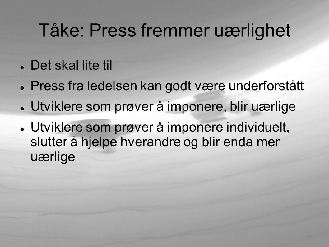 Tåke: Svak prosess Manglende oppfølging underveis i sprint Uklart definerte tilstander (definition of done )