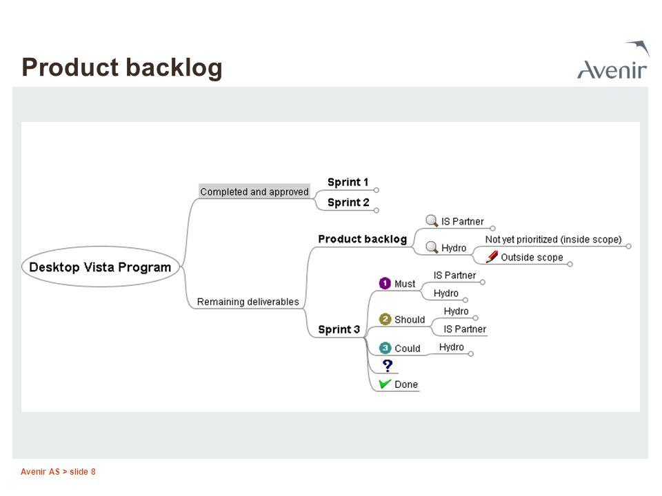 Avenir AS > slide 8 Product backlog