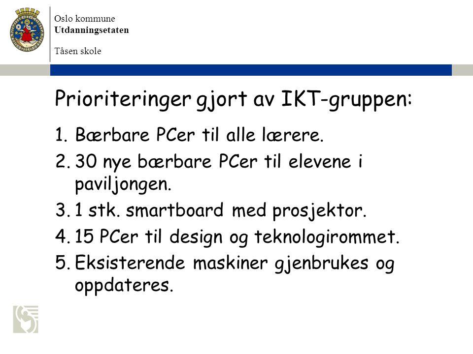 Oslo kommune Utdanningsetaten Tåsen skole Prioriteringer gjort av IKT-gruppen: 1.Bærbare PCer til alle lærere. 2.30 nye bærbare PCer til elevene i pav