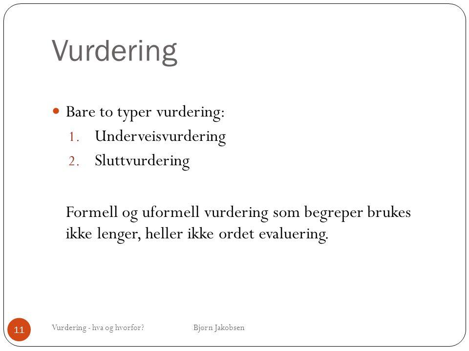 Vurdering Vurdering - hva og hvorfor? Bjørn Jakobsen 11 Bare to typer vurdering: 1. Underveisvurdering 2. Sluttvurdering Formell og uformell vurdering