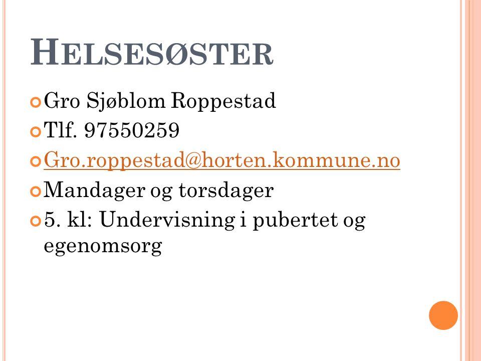 H ELSESØSTER Gro Sjøblom Roppestad Tlf.