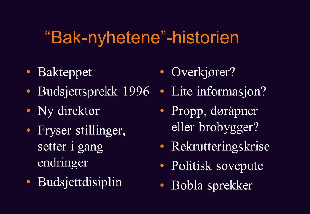 Bak-nyhetene -historien Bakteppet Budsjettsprekk 1996 Ny direktør Fryser stillinger, setter i gang endringer Budsjettdisiplin Overkjører.