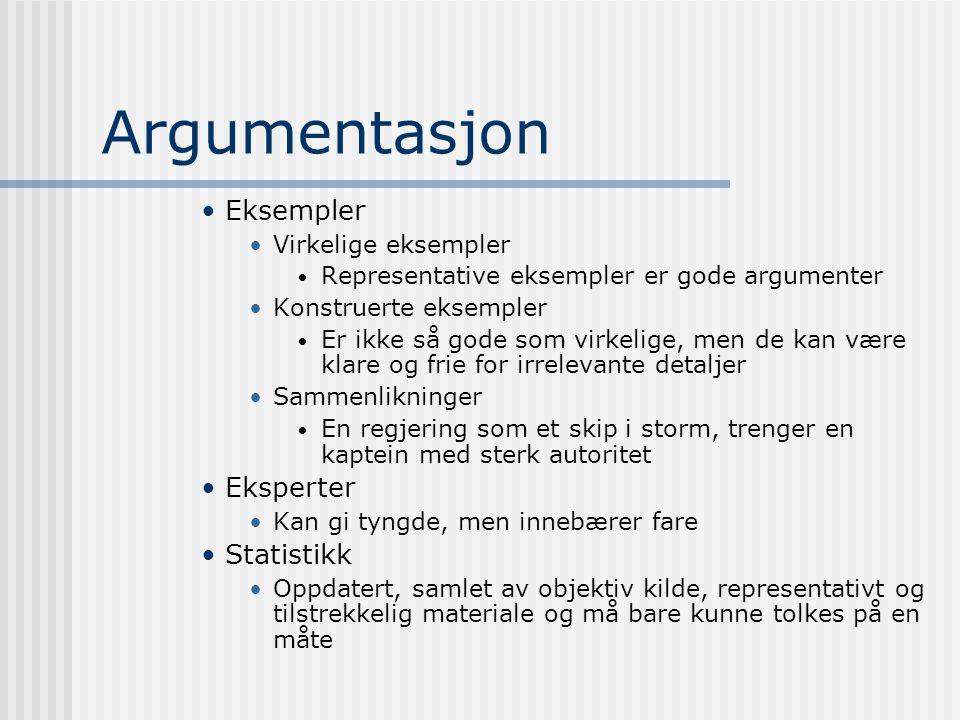 Argumentasjon Eksempler Virkelige eksempler Representative eksempler er gode argumenter Konstruerte eksempler Er ikke så gode som virkelige, men de ka