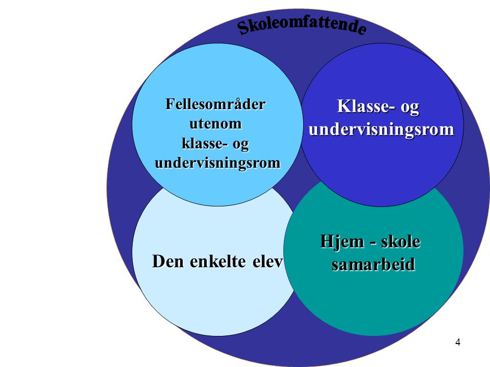 4 Den enkelte elev Hjem - skole samarbeid Klasse- og undervisningsromFellesområderutenom klasse- og undervisningsrom