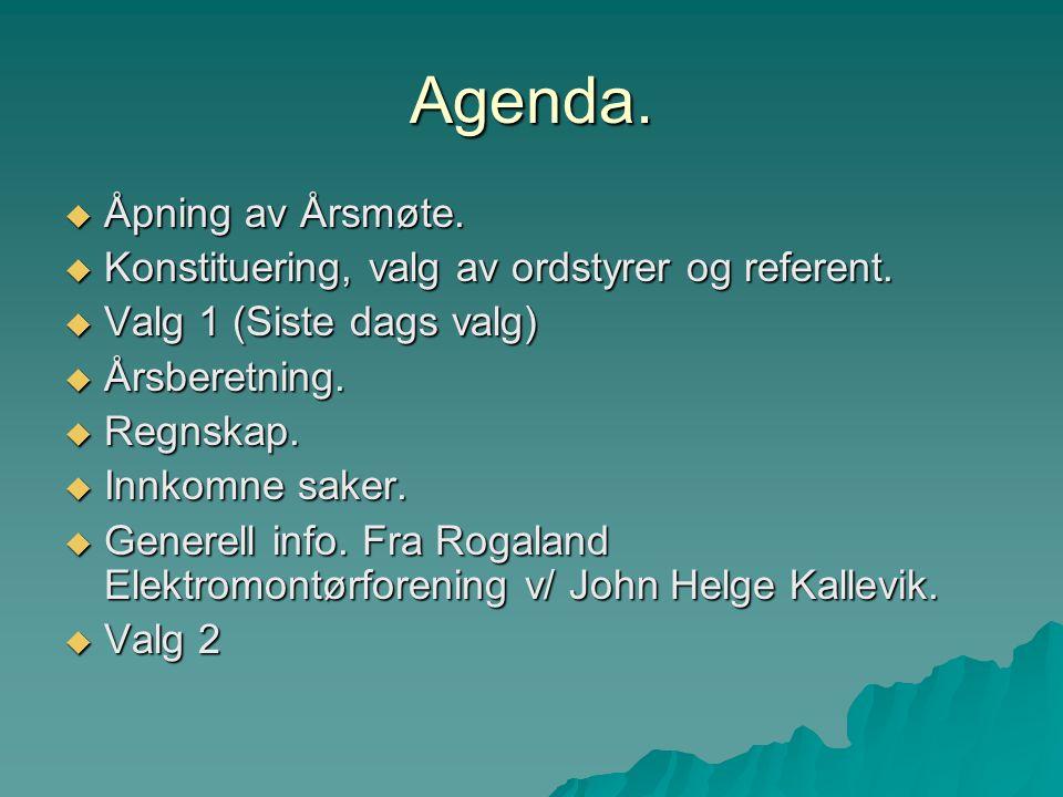 Agenda.  Åpning av Årsmøte.  Konstituering, valg av ordstyrer og referent.  Valg 1 (Siste dags valg)  Årsberetning.  Regnskap.  Innkomne saker.