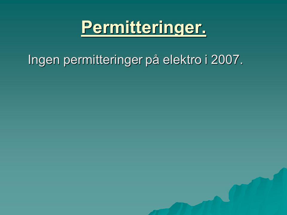 Permitteringer. Ingen permitteringer på elektro i 2007. Ingen permitteringer på elektro i 2007.