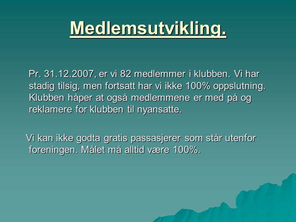 Medlemsutvikling. Pr. 31.12.2007, er vi 82 medlemmer i klubben. Vi har stadig tilsig, men fortsatt har vi ikke 100% oppslutning. Klubben håper at også