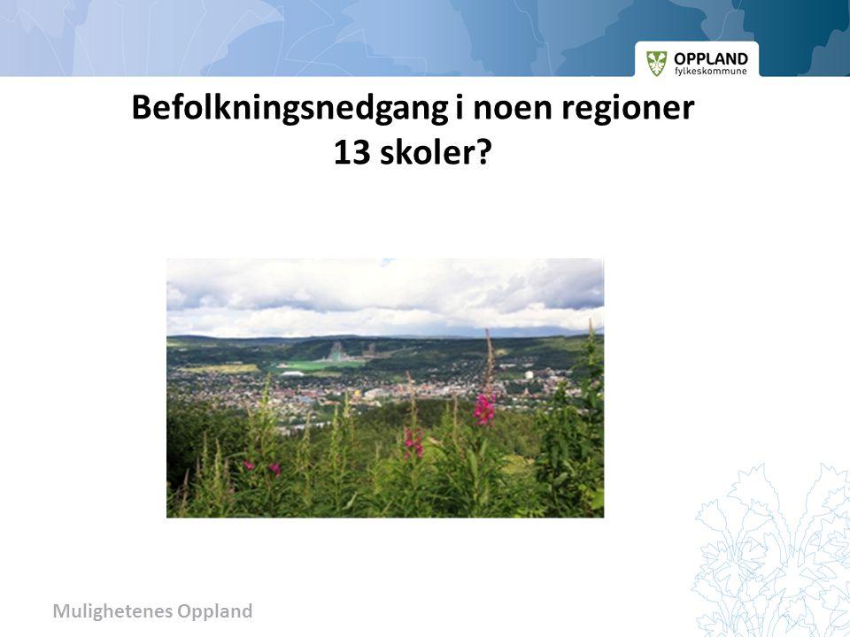 Mulighetenes Oppland Befolkningsnedgang i noen regioner 13 skoler?