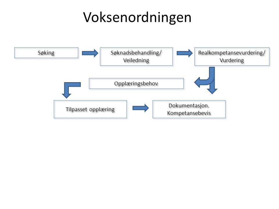 Søking Søknadsbehandling/ Veiledning Realkompetansevurdering/ Vurdering Realkompetansevurdering/ Vurdering Opplæringsbehov Tilpasset opplæring Dokumentasjon.