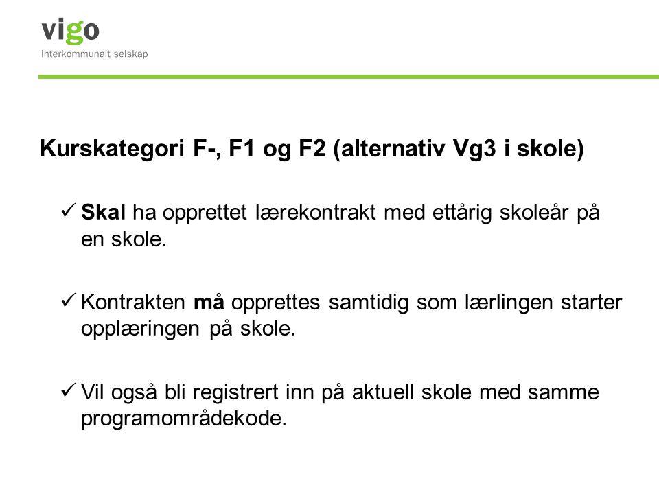 Kurskategori F-, F1 og F2 (alternativ Vg3 i skole) Skal ha opprettet lærekontrakt med ettårig skoleår på en skole. Kontrakten må opprettes samtidig so