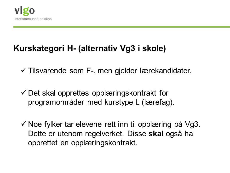 Kurskategori H- (alternativ Vg3 i skole) Tilsvarende som F-, men gjelder lærekandidater. Det skal opprettes opplæringskontrakt for programområder med