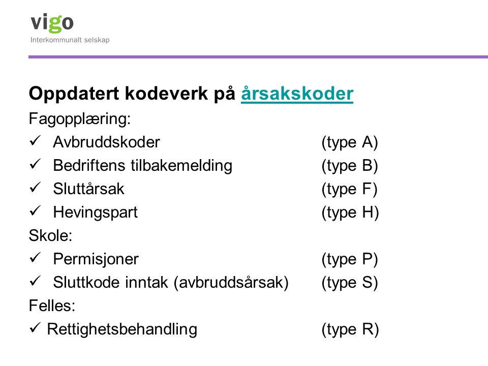 Oppdatert kodeverk på årsakskoderårsakskoder Fagopplæring: Avbruddskoder(type A) Bedriftens tilbakemelding(type B) Sluttårsak (type F) Hevingspart (ty