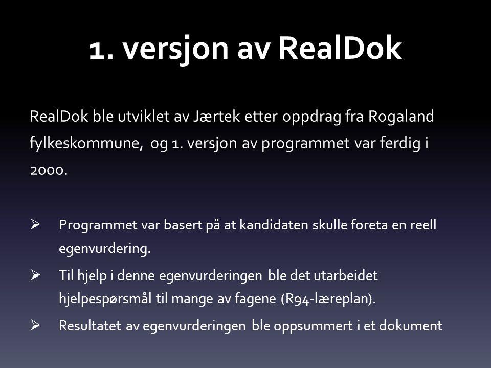 1. versjon av RealDok RealDok ble utviklet av Jærtek etter oppdrag fra Rogaland fylkeskommune, og 1. versjon av programmet var ferdig i 2000.  Progra