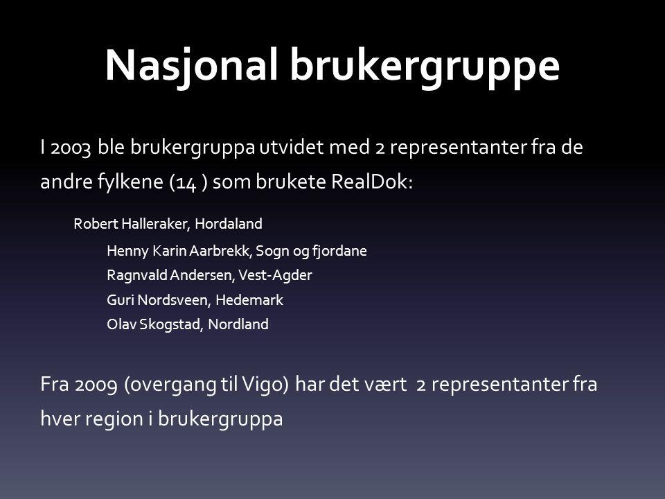 Nasjonal brukergruppe I 2003 ble brukergruppa utvidet med 2 representanter fra de andre fylkene (14 ) som brukete RealDok: Robert Halleraker, Hordalan