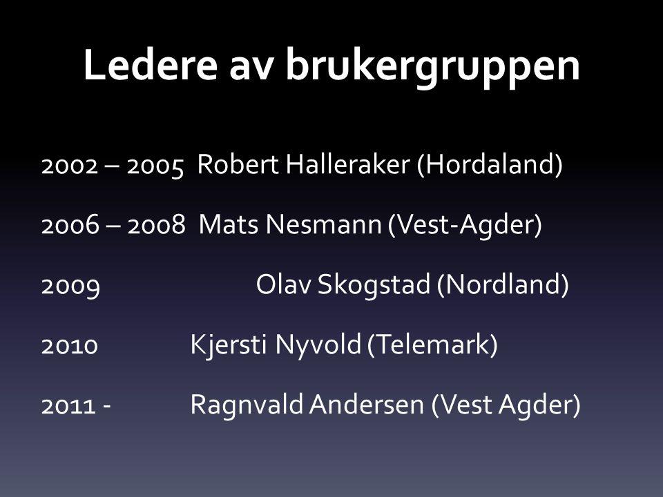 Ledere av brukergruppen 2002 – 2005 Robert Halleraker (Hordaland) 2006 – 2008 Mats Nesmann (Vest-Agder) 2009 Olav Skogstad (Nordland) 2010 Kjersti Nyv