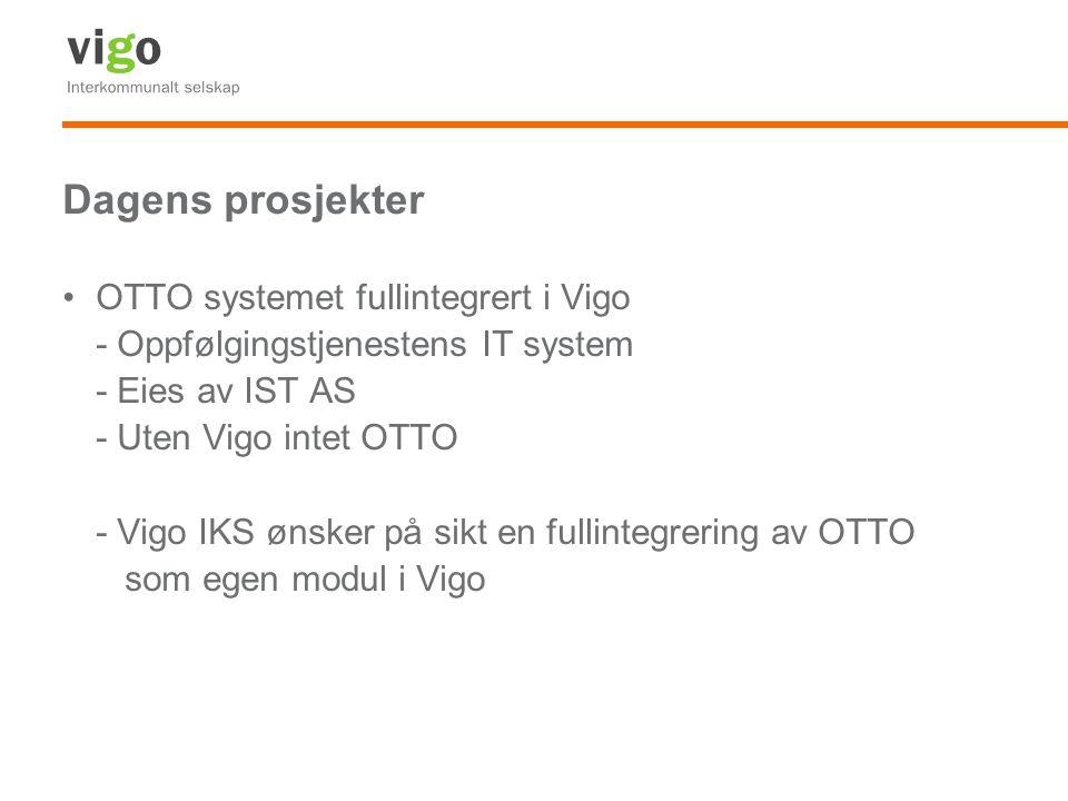 Dagens prosjekter OTTO systemet fullintegrert i Vigo - Oppfølgingstjenestens IT system - Eies av IST AS - Uten Vigo intet OTTO - Vigo IKS ønsker på si