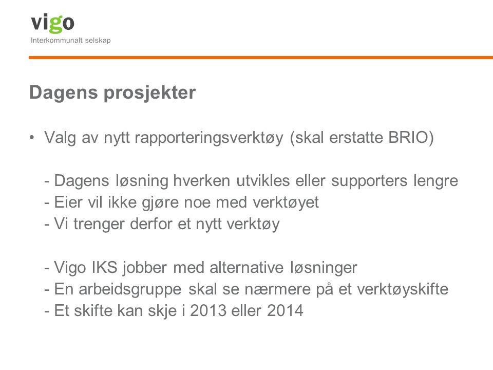 Dagens prosjekter Valg av nytt rapporteringsverktøy (skal erstatte BRIO) - Dagens løsning hverken utvikles eller supporters lengre - Eier vil ikke gjø