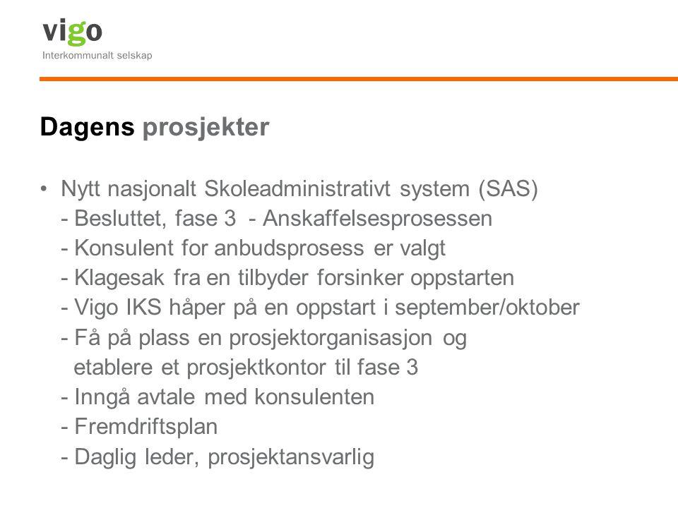 Dagens prosjekter Nytt nasjonalt Skoleadministrativt system (SAS) - Besluttet, fase 3 - Anskaffelsesprosessen - Konsulent for anbudsprosess er valgt - Klagesak fra en tilbyder forsinker oppstarten - Vigo IKS håper på en oppstart i september/oktober - Få på plass en prosjektorganisasjon og etablere et prosjektkontor til fase 3 - Inngå avtale med konsulenten - Fremdriftsplan - Daglig leder, prosjektansvarlig