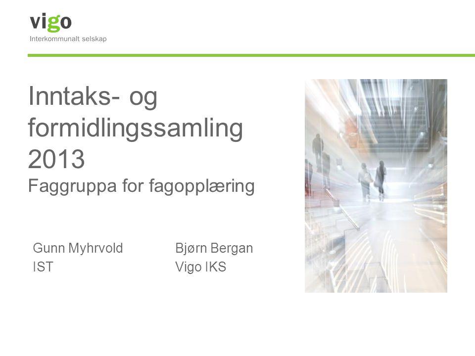 Inntaks- og formidlingssamling 2013 Faggruppa for fagopplæring Gunn MyhrvoldBjørn Bergan ISTVigo IKS