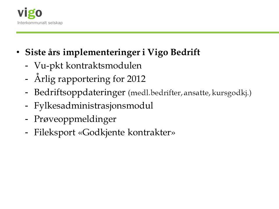 Siste års implementeringer i Vigo Bedrift - Vu-pkt kontraktsmodulen - Årlig rapportering for 2012 - Bedriftsoppdateringer (medl.bedrifter, ansatte, kursgodkj.) - Fylkesadministrasjonsmodul - Prøveoppmeldinger - Fileksport «Godkjente kontrakter»