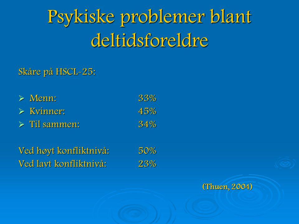 Psykiske problemer blant deltidsforeldre Skåre på HSCL-25:  Menn: 33%  Kvinner: 45%  Til sammen: 34% Ved høyt konfliktnivå:50% Ved lavt konfliktnivå:23% (Thuen, 2004) (Thuen, 2004)